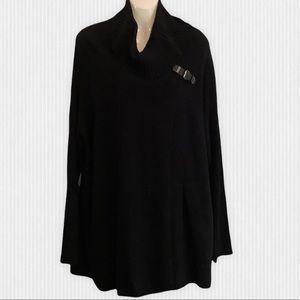 Black Cotton Blend Cowl Neck Wrap Sweater L-XL